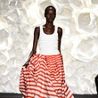 Fashion Week spring 2015 Naeem Khan and a model separates look