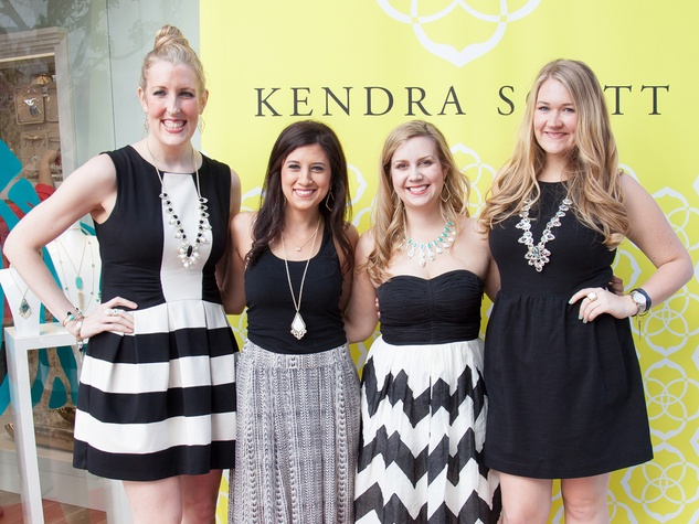 Lauren Masset, from left, Ellen Cairns, Kelsey Perry and Christine Osterhus at the Kendra Scott opening in The Woodlands April 2014