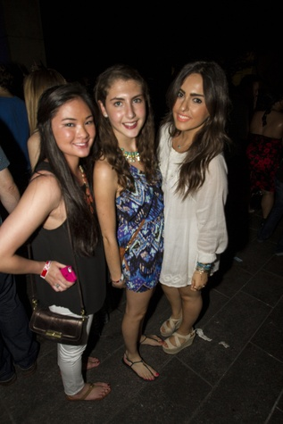 Lilly Pham, from left, Marisol Moran and Golbou Sharit at the MFAH Mixed Media Party June 2014
