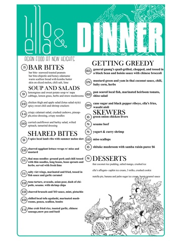 Lillo and Ella restaurant Kevin Naderi May 2014 dinner menu
