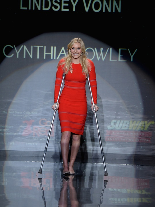 Lindsey Vonn walks the runway wearing Cynthia Rawley at Go Red For Women February 2014