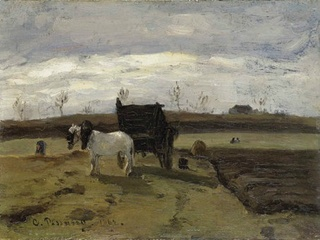 "painting ""Cheval Blanc et Tombereau"" by Jacob Camille Pissarro"