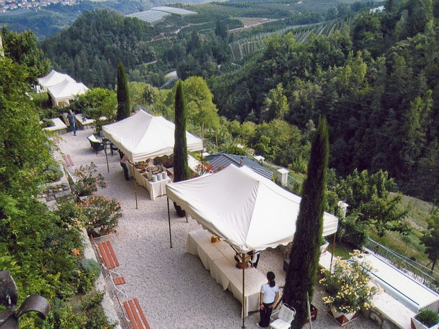 On the Market Castel Valer in northern Italy near Milan May 2014 terrace