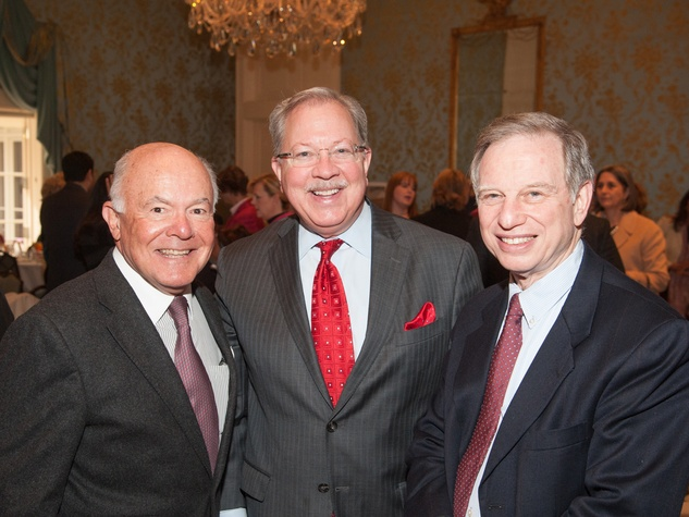 George Stark, from left, Jay Harberg and J. Kent Friedman at the Interfaith Ministries luncheon January 2014