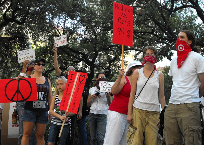 Occupy_Houston_Silent_Protest_Red_demonstrators
