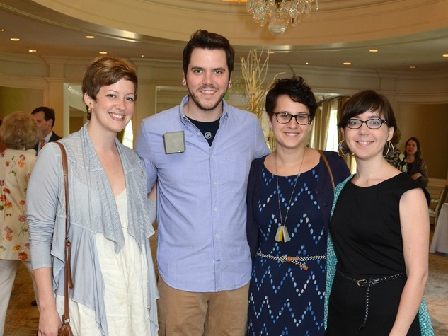 53 Delaney Smith, from left, Robert Thomas Mullen, Demi Thomloudis and Caitie Sellers at the Houston Center for Contemporary Craft spring luncheon May 2014