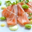 Preview Modern Seafood Cuisine New Zealand ora king salmon with apple emulsion, edamame puree and pickled lemon