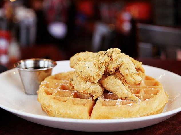 Chicken and waffles at Black Walnut Cafe