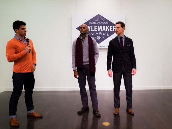 Kevin Lavelle and his models at 2014 CultureMap Stylemaker Awards
