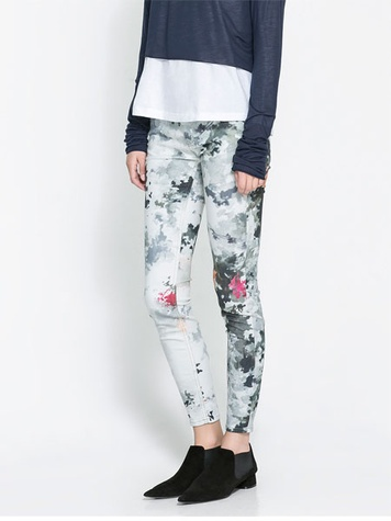 zara PRINTED SUPERSTRETCH TROUSERS