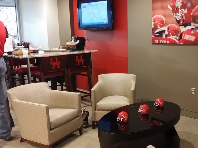 News, Shelby, UH Stadium Suite Life, Sept. 2014, suite interior