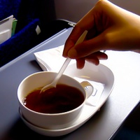 cup of coffee on airline tray