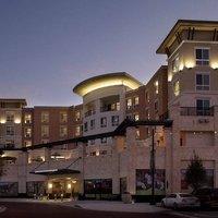 Hyatt Market Street Hotel in The Woodlands exterior night