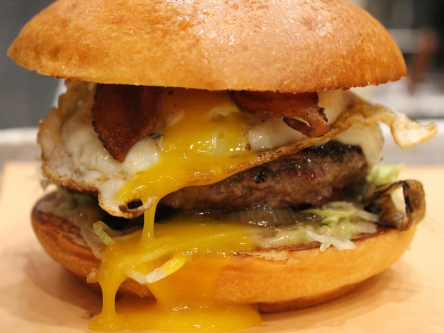 Fielding's Wood Grill smoke burger with fried egg