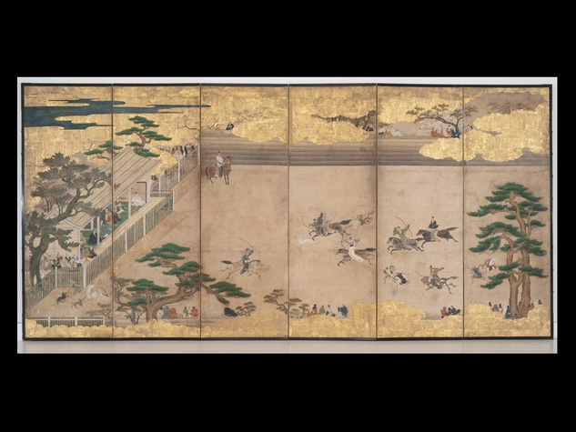 13A, MFAH, Unrivalled Splendor, Japanese art, June 2012, Folding Screene with Equestrian Archery Drill