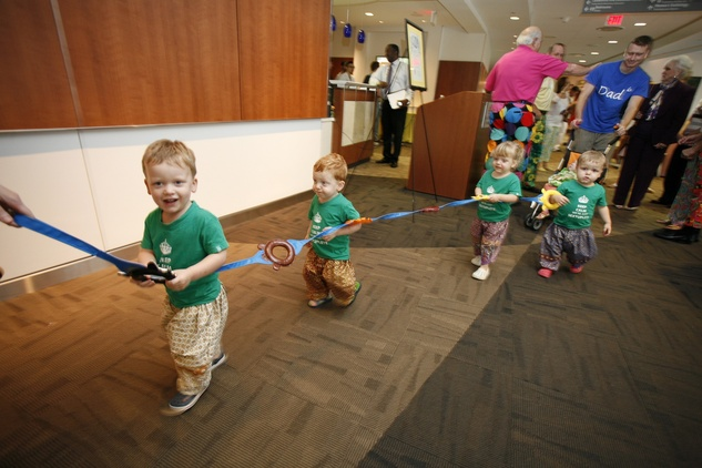 Four of the Perkins sextuplets at the Bad Pants Open kick-off party at Texas Children's Hospital