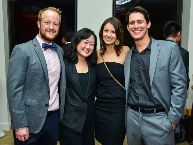 Jeff Gilmer, from left, Kiju Joh, Melissa Seuffert and Kevin Gilbert at the Young Professionals Backstage party January 2014