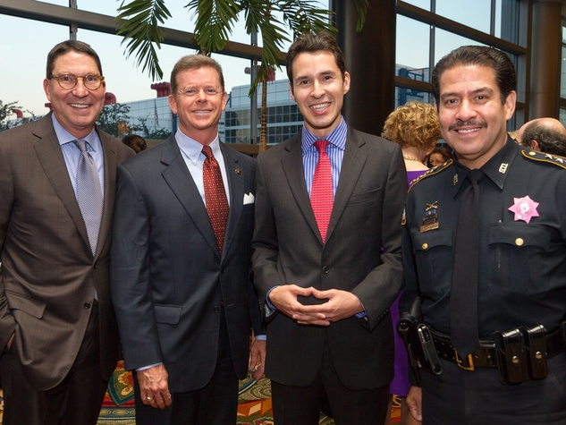 Scott McClelland, from left, Harvin Moore, Luis Elizondo-Thomson and Adrian Garcia at the Teach For America benefit dinner