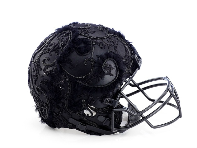 Marchesa helmet for Bloomingdale's Fashion Touchdown