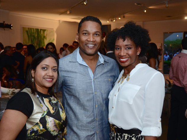 35 Veena Chandrakar, from left, Washington Sereatan and Yvette Thomas at the CultureMap Social at Gremillion and Co. Fine Art March 2015