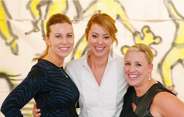 0475 Allison Flikerski, from left, Lauren Maloy and Emily Essaye at Child Advocates Art Party November 2014