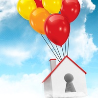 home sales up, balloons, floating house