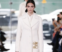 Tory Burch monogrammed coat fall 2017 look 1