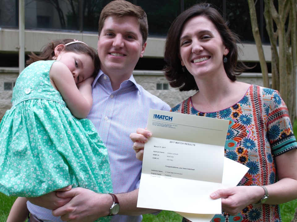 : Jocelyn Lambuth, with husband James and 4-year-old daughter Cecilia, is happy that she matched to McGovern Medical School/Children's Memorial Hermann Hospital