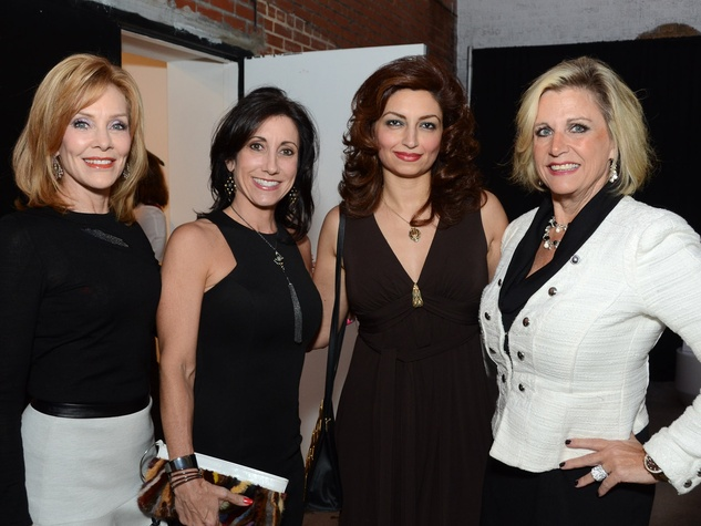 32 Susan Miller, from left, Leslie Wall Hassen, Mahzad Mohajer and Melanie Campbell at Diverseworks' Fashion Fete October 2013