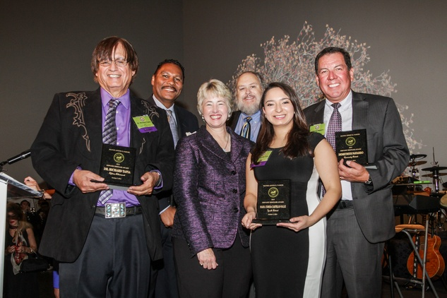 Dr. Richard Tapia, from left, Jose Antonio Diaz, Mayor Annise Parker, Michael Olivas, Maria Teresa Castillo-Valle and Demetrius Navarro at the Mayor's Hispanic Heritage Awards event October 2014