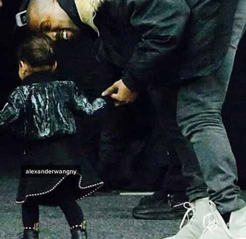 North West and Kayne West at the Alexander Wang show