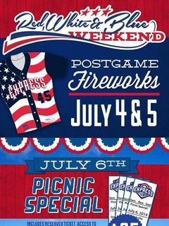 poster for Round Rock Express red white and blue weekend 2014