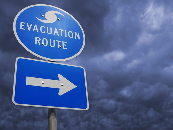 evacuation route, hurricane, escape, sign