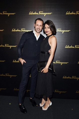 Massimiliano Giornetti and Freida Pinto at Salvatore Ferragamo fall 2015 collection show