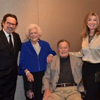 Dennis Miller, from left, Barbara Bush, George H.W. Bush and Carolyn Miller at the Bush Wine Dinner November 2014