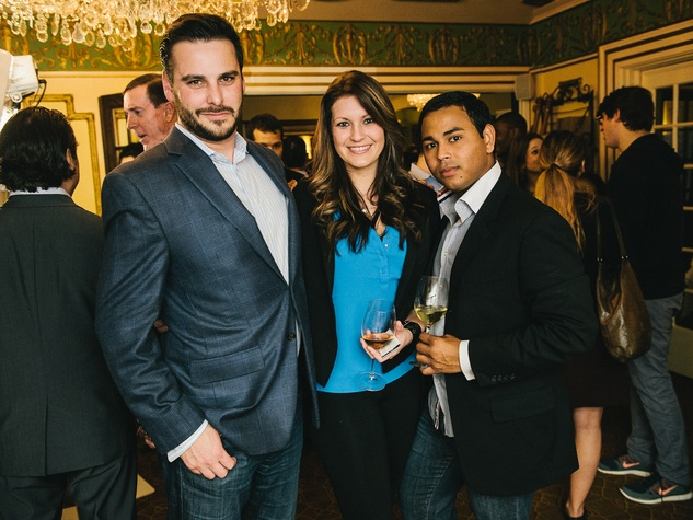 18 Adam Roberts, from left, Maghan Malloy-Pruitt and Ruel Sosa at the CultureMap Social at La Colombe d'Or February 2014