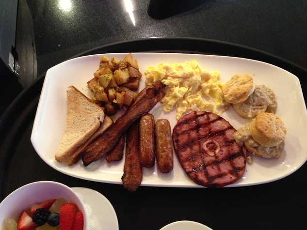 Mr. Peeples brunch with ham, scrambled eggs, hash browns, sausage and toast, The Traditional