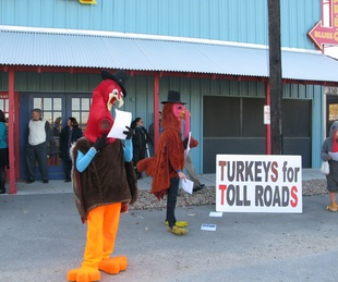 Trinity River Parkway protesters in turkey costumes