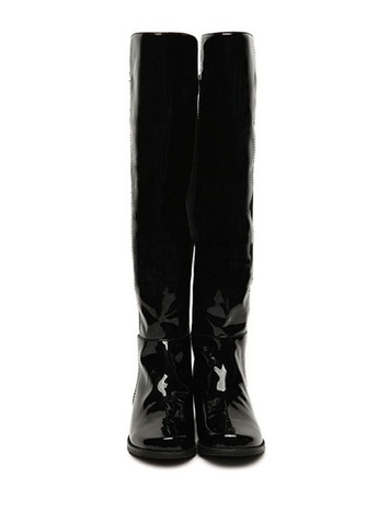 oasap Color Block Patent Leather Over-the-knee Boots