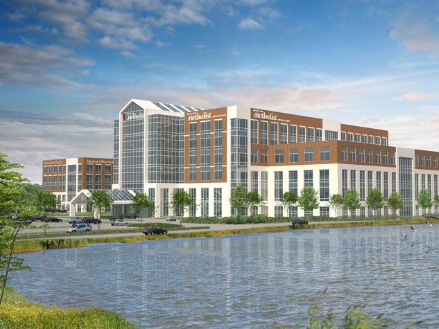Houston Methodist Hospital in The Woodlands rendering May 2014 exterior day with pond