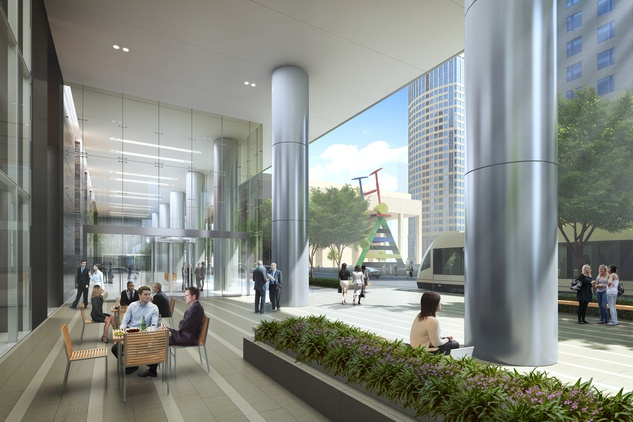The Capitol Tower Houston Club rendering travis entry