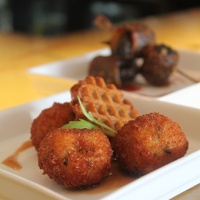 Marcy, happy hour deals, December 2012, Triniti Bar Bites, fried chicken meatballs, waffle