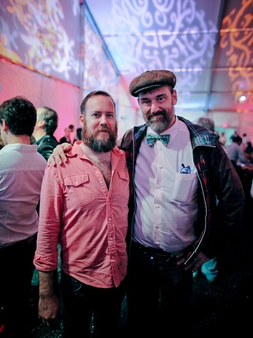 Mark McCray, left, and Bill Arning at the FotoFest opening party March 2014