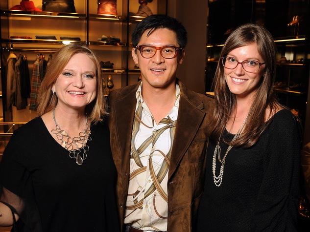 Belinda Bennett, from left, Vu Tran and Amy Vonderau Gucci Alley Theatre cocktail party October 2013