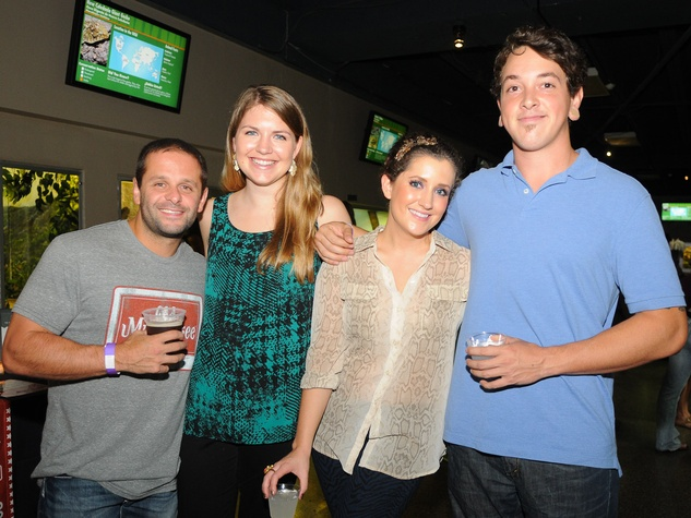 9956 Themistoklis Pagiatis, from left, Laura Suttles, Roseanne Bodin and Ben Cook at the Scales and Cocktails Houston Zoo Flock event