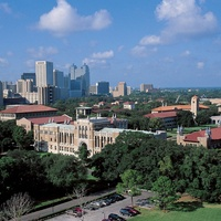 Rice University, aerial, campus, buildings