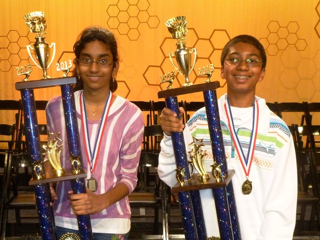 Spelling Bee champions, March 2013, Shobha Dasari and Syamantak Payra