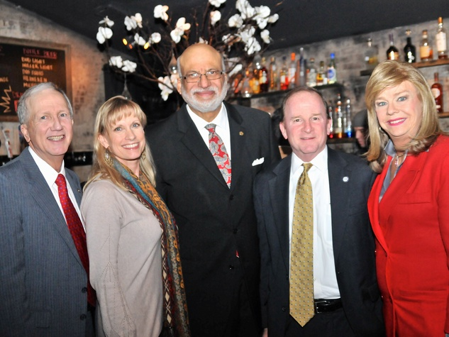 Vince Ryan, from left, Karen Garcia, Larry Payne, Dave Martin and Jenifer Rene Pool at the Mayor's Hispanic Advisory Board Holiday Party December 2013
