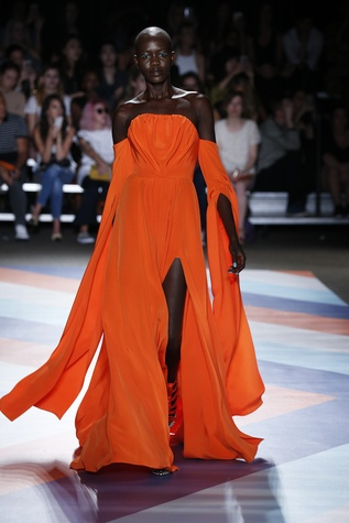 Christian Siriano spring 2017 orange gown look 44
