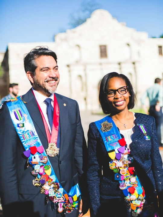 Mayor Ivy Taylor and City Councilman Roberto Trevino at Fiesta